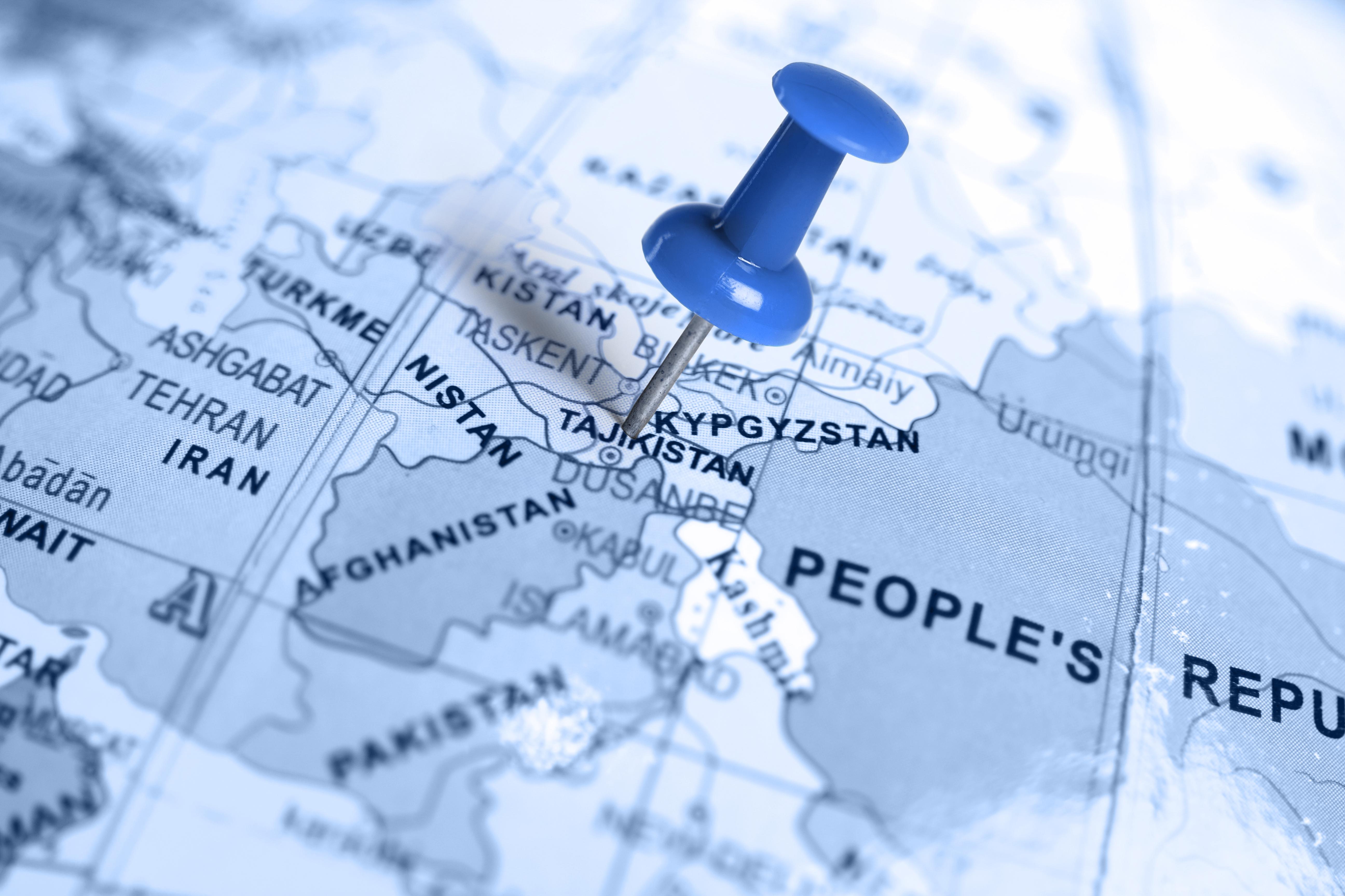 Location Tajikistan. Blue pin on the map.